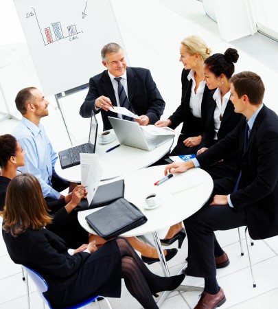 High angle view of business people discussing in a meeting