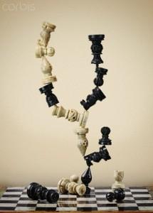 Modern sculpture made of chess pieces