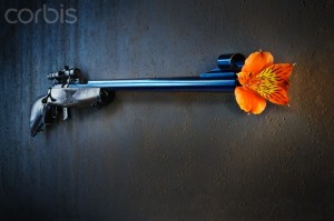 Weapon with flower