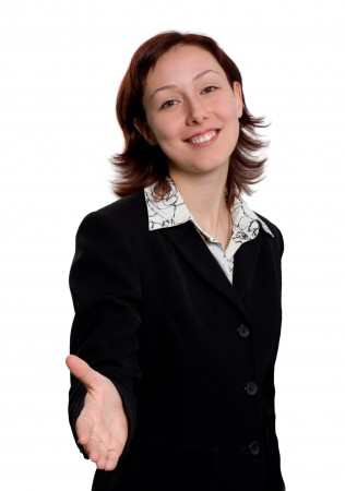 Young business woman greeting